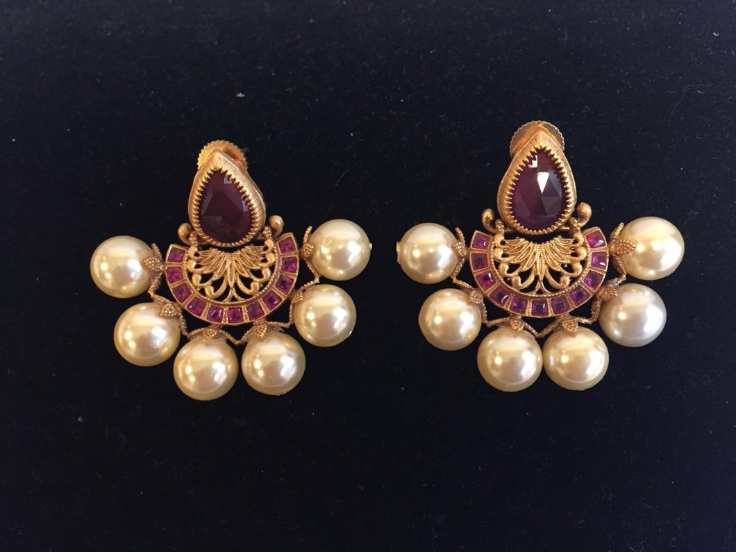 Chandbali with Big Pearl Bads in Matt Finish - 9gems.com