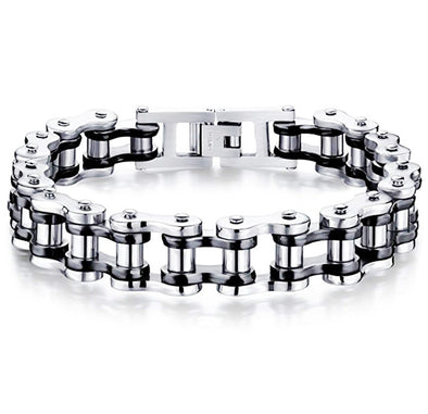 Black/Silver Stainless Steel Bike Bracelet