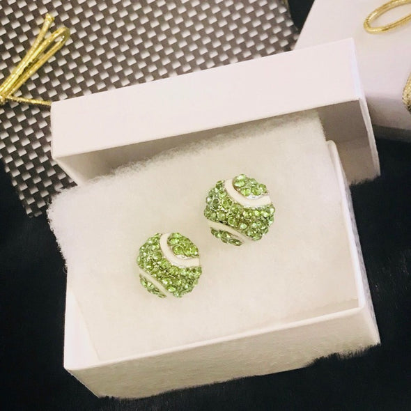 Crystal Pave Earrings And Small Tennis Ball Charm