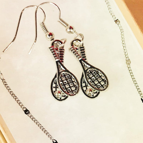Tennis Racket Pendant And Earrings Sterling Silver