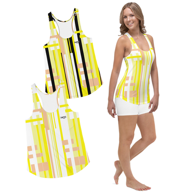 Swinnis Women's Level 21 Yellow Print Tank Top