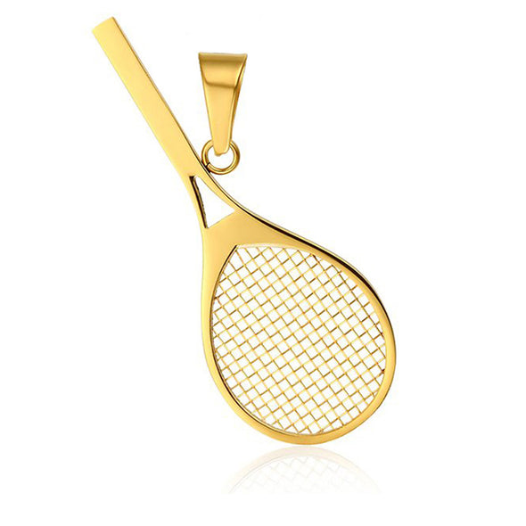Jewelry Stainless Steel Gold Tennis Racket Shape Pendant