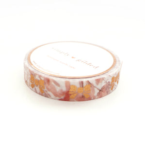 WASHI 10mm - Park Avenue GLITTER FLORAL + rose gold bow