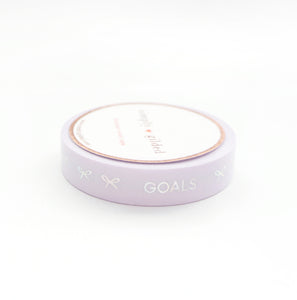 PERFORATED WASHI TAPE 10mm - Light LAVENDER TASKS + silver sparkler holo