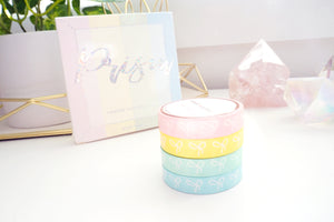 10mm BOX SET of 4 bow washi tapes - PRISM + iridescent prismatic overlay foil (Spring Release)