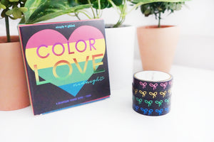 BOX SET of 4 - Color Love MIDNIGHT 10mm + pink/gold/green/blue foil bows