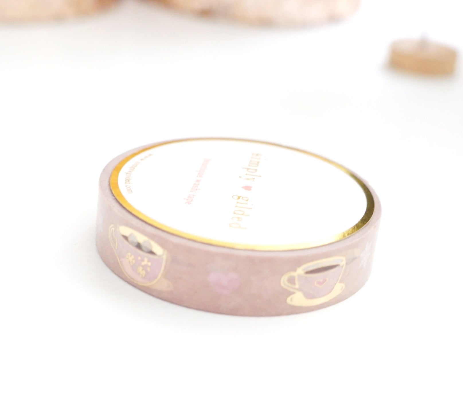 WASHI TAPE 10mm - HOT COCOA HUGS + LT. GOLD foil (November 19 Holiday Release)