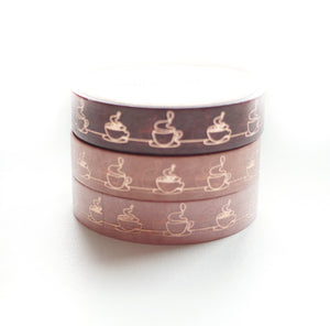 WASHI 10mm set of 3 - COFFEE Trio + rose gold foil - OOPS