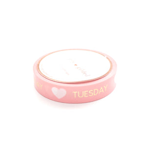 PERFORATED WASHI TAPE 10mm - CORAL Days of the Week - lt. gold (Mystery Monday)
