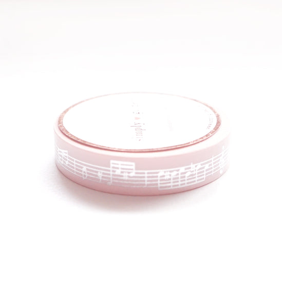 WASHI 10mm Lullaby Moon PINK MUSIC + silver (LULLABY MOON)