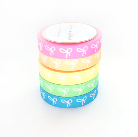 BUNDLE - WASHI TAPE 10mm bow set of 5 - NEON set + white bows (June Mini Release)