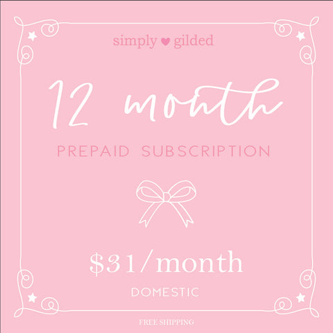 12 Month simply gilded box Prepaid subscription (Domestic)
