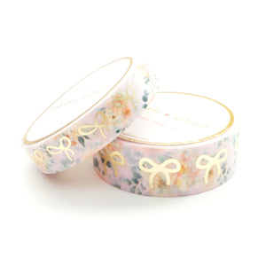 WASHI 15/10mm BOW set - HELLO DAHLIANG Floral + lt. gold (Hello Dahliang)