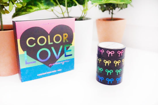 BOX SET of 4 - Color Love MIDNIGHT 15mm + pink/gold/green/blue foil bows