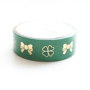 WASHI 15mm - Clover and Puffy Bows + gold foil