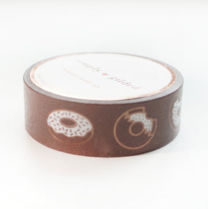 WASHI 15mm - Dark CHOCOLATE Donuts + dark chocolate foil
