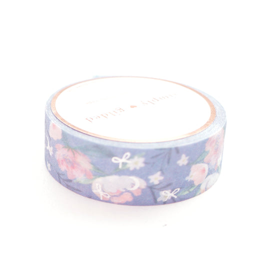 WASHI 15mm Lullaby Moon FLORAL + silver / glitter (LULLABY MOON)