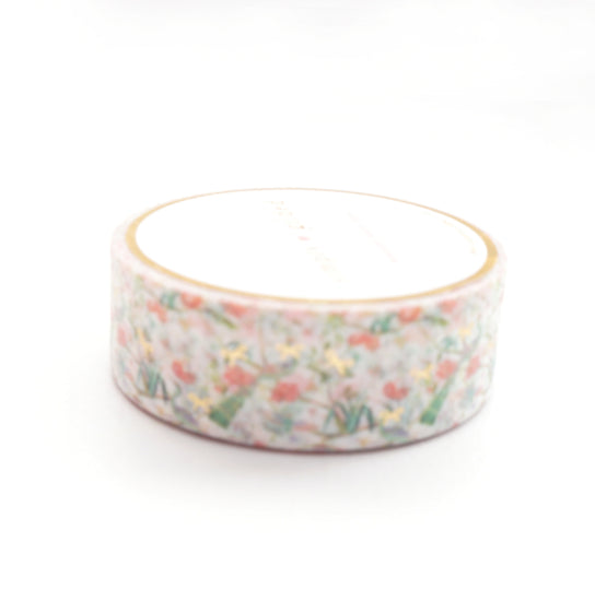 WASHI 15mm - Painted Garden CHINOISERIE + light gold foil (Painted Garden)