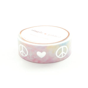 WASHI TAPE 15mm - PEACE LOVE tie-dye + silver foil