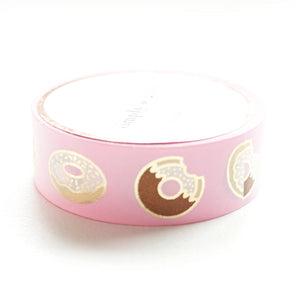 WASHI 15mm - PINK Donuts + light gold foil (reprint)