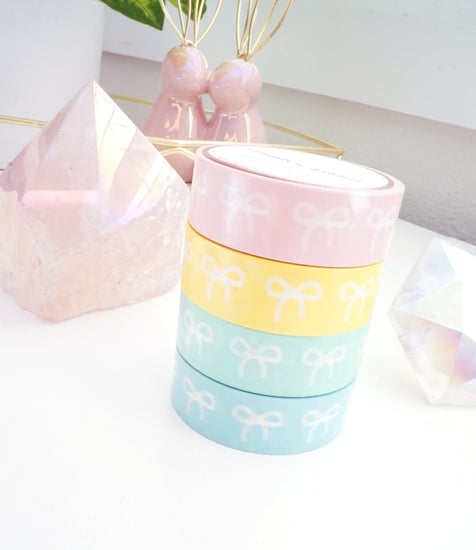 15mm BOX SET of 4 bow washi tapes - PRISM + iridescent prismatic overlay foil (Spring Release)