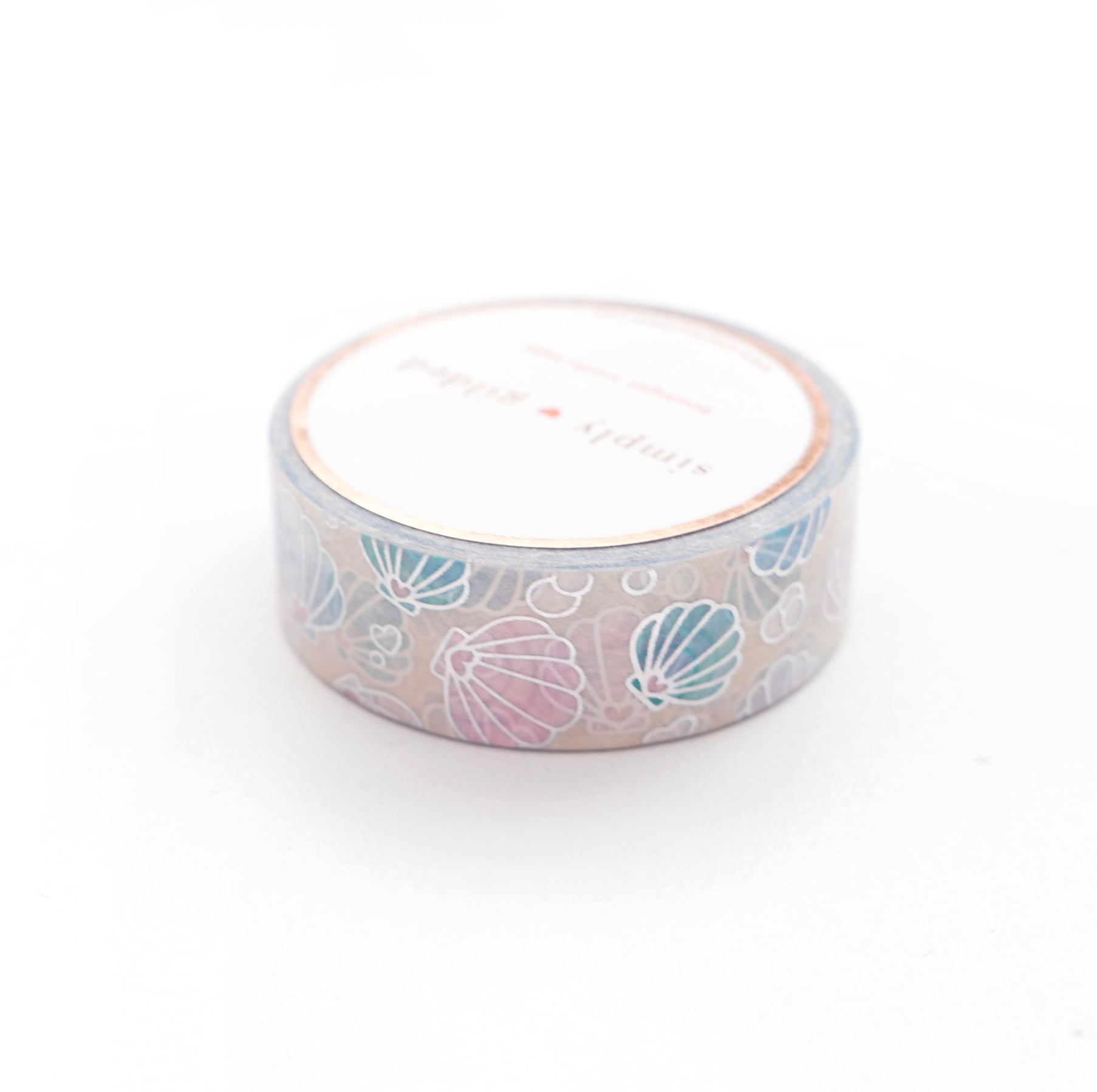 WASHI TAPE 15mm - SAND She Sells Sea Shells + sparkler silver holo (Mermaid Dreams Release)
