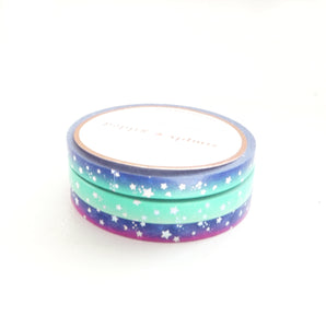 5mm MINI SET of 3 - AURORA Galaxy SHOOTING STARS + silver holographic (Restock)