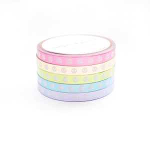 WASHI 5mm SKULLS set of 5 - CANDY COATED METALLIC + white SKULLS