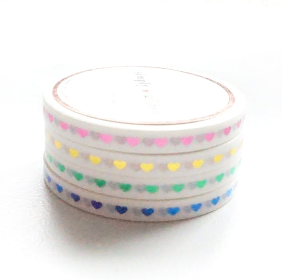5mm WASHI set of 4 - Color Love HEARTS + pink/gold/green/blue foil