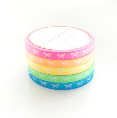 5mm HORIZONTAL bow set of 5 - NEON pink/orange/yellow/green/blue + white bows (May 29th Release)