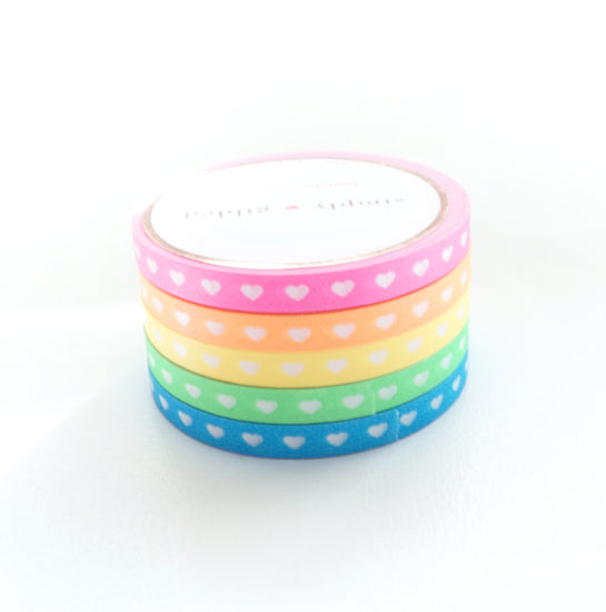 5mm HEARTS set of 5 - NEON pink/orange/yellow/green/blue + white hearts