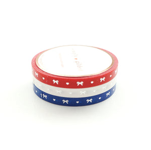 5mm WASHI TAPE set of 3 - classic red/white/true blue HEART & BOW + silver (June 22nd release)