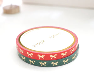 WASHI TAPE 5mm MINI HORIZONTAL BOW set of 2 - Festive RED & GREEN + LT. GOLD foil (November 19 Holiday Release)