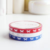 MINI SET 5mm  - Red, White & Blue - HORIZONTAL bow + silver (Mystery Monday)