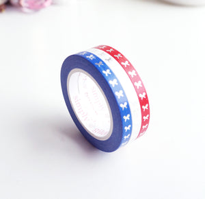 MINI SET 5mm - RED, WHITE & BLUE - VERTICAL bow washi tape - silver foil