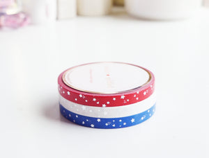 5mm MINI set of 3 - RED, WHITE & BLUE SHOOTING STAR + silver (Mystery Monday)