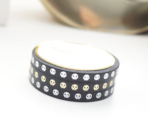 MINI 5mm WASHI TAPE set of 3 - BLACK SKULLS + silver/gold/holographic silver foil
