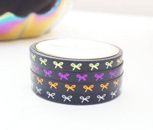 MINI 5mm WASHI TAPE set of 4 - HALLOWEEN HORIZONTAL BOW + lime green/purple/coppery orange/white + black foil (September release)