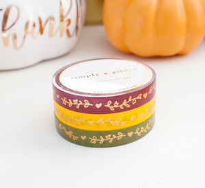 WASHI TAPE 7.5mm set of 3 - HEART & VINE AUTUMN SPLENDOR + rose gold foil
