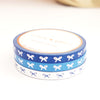 5mm WASHI TAPE bow set of 3 - silver foil / BLUE BLISS / Deep Blue+ HORIZONTAL silver foil + blue BOWS