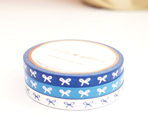 5mm WASHI TAPE bow set of 3 - silver foil / BLUE BLISS / Deep Blue+ HORIZONTAL silver foil + blue BOWS (New Release)