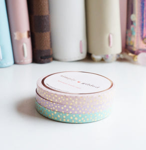 MINI SET 5mm CLASSIC CONFETTI DOT PINK/LAVENDER/MINT + champagne gold foil set of 3 (Last Chance)