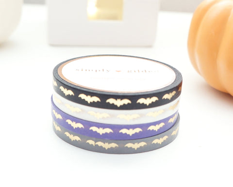 MINI 5mm WASHI TAPE set of 4 - CLASSY BATS + champagne gold foil (September Release)