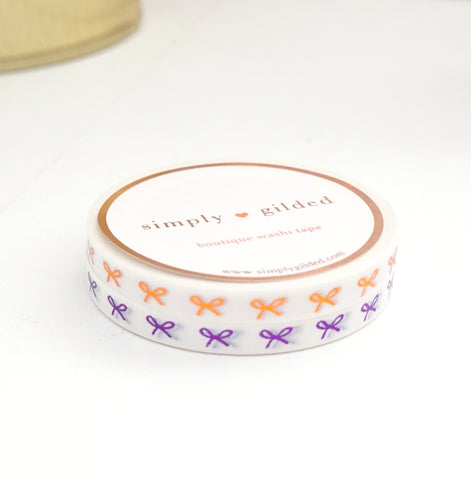 MINI SET 5mm HORIZONTAL bow set of 2 washi tapes - WHITE + COPPERY ROSE/purple foil (October 2019 Release)