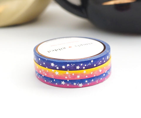 MINI SET 5mm washi tape set of 3 - GALAXY ELECTRIC SHOOTING STARS + holographic silver foil (October 2019 release)