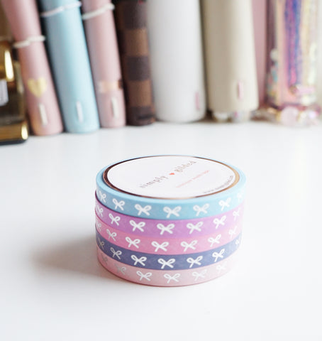 WASHI TAPE 5mm mini bow set - PRETTY & BRIGHT HORIZONTAL BOWS + silver foil (Mystery Monday)