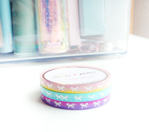 MINI WASHI TAPE SET 5mm - SUMMER SUNSET OMBRE - HORIZONTAL  + silver holographic foil bows (Last Chance)