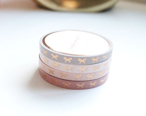 WASHI TAPE 5mm - HORIZONTAL BOW BLUSHBABY + rose gold foil set (January 10 Release)