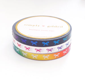 5mm WASHI TAPE RAINBOW BOW trio - Black/White/Rainbow + HORIZONTAL