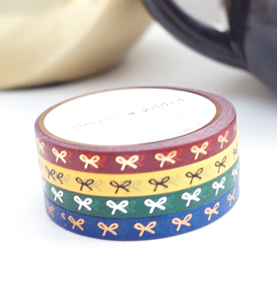 MINI SET 5mm set of 4 bow washi tape - NIGHTSHADE REMIX HORIZONTAL + gold/black/silver/rose gold foil (October 2019 Release)